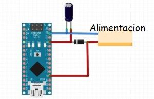 Alimentación de arduino con condensador y diodo