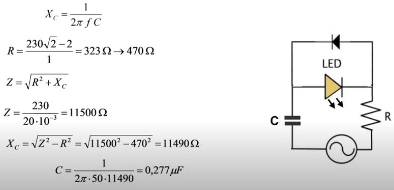 Cálculo de la impedancia aplicada al led