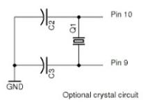 Circuito oscilador para la placa