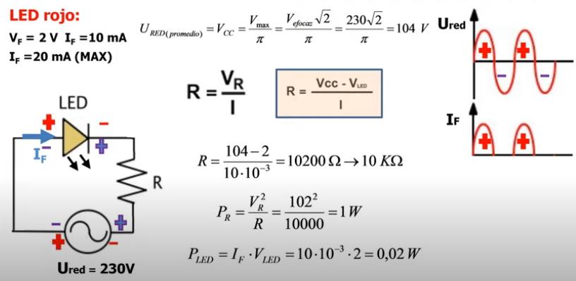 Polarización de leds con corriente alterna de la red